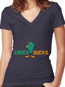 """""""CROCODUCK MASCOT"""" by Tai's Tees Women's Fitted V-Neck T-Shirt"""