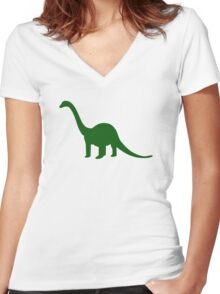 Dinosaur Longneck Women's Fitted V-Neck T-Shirt