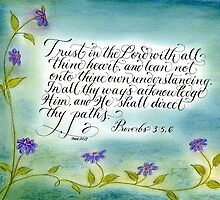 Trust in the Lord Handwritten verse Proverbs 3:5,6 by Melissa Goza