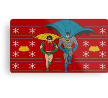 Batman and Robin Ugly Holiday Sweater Metal Print