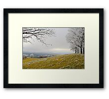 Golden Fields Laced By Winter Framed Print