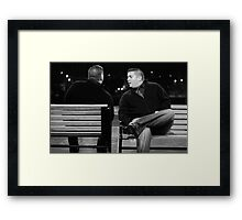 chris on chris on bench Framed Print