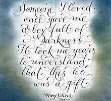 Encouraging quote calligraphy art by Melissa Goza