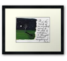 Aristotle quote calligraphy art  Framed Print