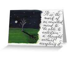 Aristotle quote calligraphy art  Greeting Card