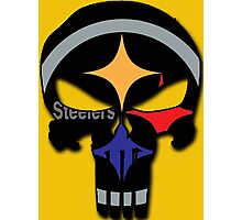 Pittsburgh Steelers Punisher Logo Team Colors Photographic Print