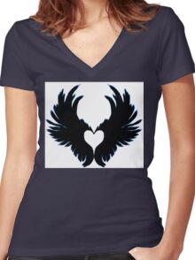 Black angel wings heart Women's Fitted V-Neck T-Shirt
