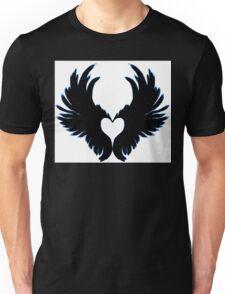 Black angel wings heart Unisex T-Shirt