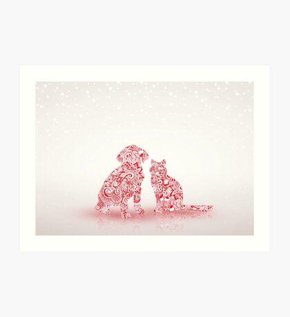 Pets Christmas Art Print