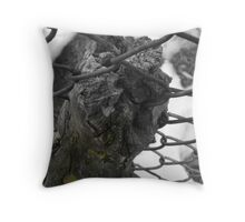 Tree Growing Through The Fence Throw Pillow