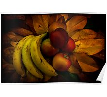 Fruit on Magnolia leaves Poster