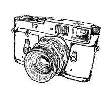 Rangefinder Style Camera Drawing Photographic Print