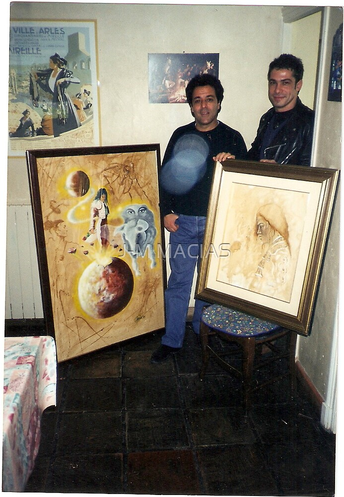 my canvas ..chico bouchiki(leader of gipsy kings band) and me... by J-M MACIAS