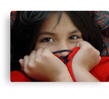 Eyes of a Little Dark Haired Beauty Canvas Print