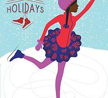 Happy Holidays: Brown Girl Ice Skating by RashidahSales