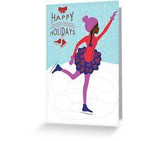 Happy Holidays: Brown Girl Ice Skating Greeting Card