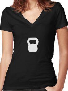 Kettlebell WOD White Women's Fitted V-Neck T-Shirt