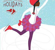 Happy Holidays: Brown Girl Ice Skating II by RashidahSales