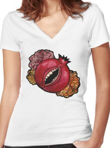 She has teeth Women's Fitted V-Neck T-Shirt