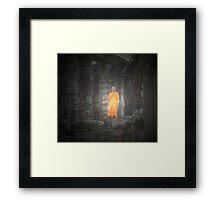 monk in angkor Framed Print
