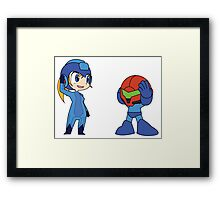 Chibi Zero Suit Samus and Megaman Framed Print