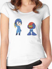 Chibi Zero Suit Samus and Megaman Women's Fitted Scoop T-Shirt