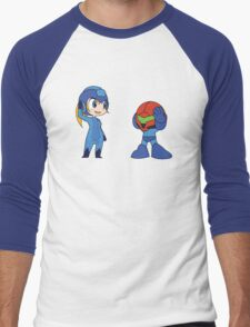 Chibi Zero Suit Samus and Megaman Men's Baseball ¾ T-Shirt