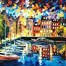 Amsterdam's Harbor — Buy Now Link - www.etsy.com/listing/213556317 by Leonid  Afremov