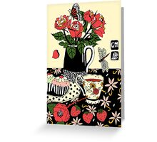 camellia tea with roses Greeting Card