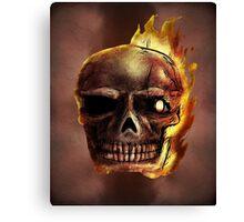 Flaming Skull Design Canvas Print