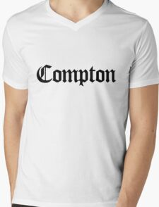 Compton Black Mens V-Neck T-Shirt