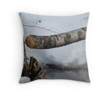 Beaver felled tree Throw Pillow