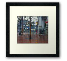 Market Street Corner Lights Framed Print