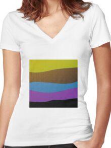 GOLD, purple, blue, black FEILD abstract art Women's Fitted V-Neck T-Shirt