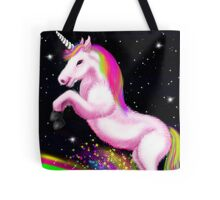 Fluffy Pink Unicorn Dancing on Rainbows Tote Bag