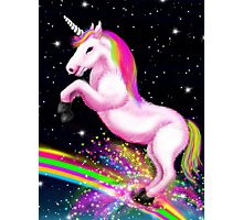 Fluffy Pink Unicorn Dancing on Rainbows Photographic Print
