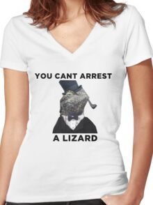 You Cant Arrest A Lizard  Women's Fitted V-Neck T-Shirt