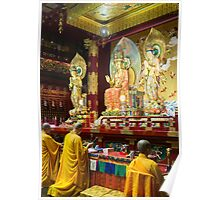 Monks inside the Buddha Tooth Relic Temple and Museum Poster