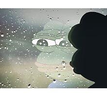 Pepe, the Sad Frog (Rainy Window) Photographic Print