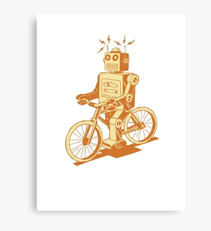 robot on fixie Canvas Print