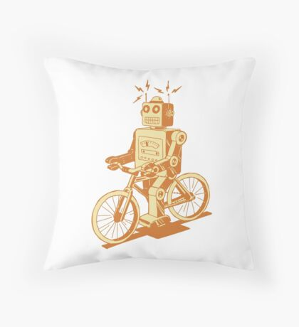 robot on fixie Throw Pillow