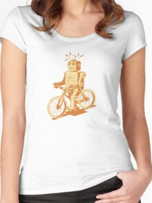 robot on fixie Women's Fitted Scoop T-Shirt