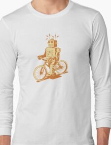 robot on fixie Long Sleeve T-Shirt