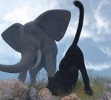 Eléphant et panthère noire / Elephant and black panther by Cactus42
