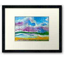 Blue  Skline Over Water Framed Print