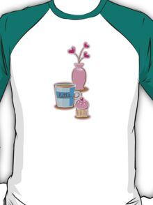Latte coffee cups and flowers T-Shirt