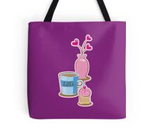 Latte coffee cups and flowers Tote Bag