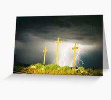 Lightning at the Crosses V Greeting Card