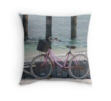 Well, can't ride a bike on water Throw Pillow