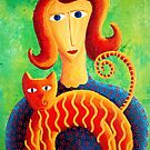 Woman with a Cat by Julie Nicholls